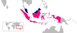 Pictured: Indonesia (Pink) and Malaysia (Blue)